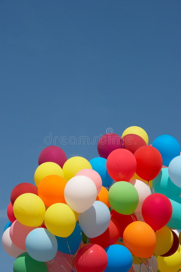 Color Balloons In Deep Blue Sky 4 Stock Photography