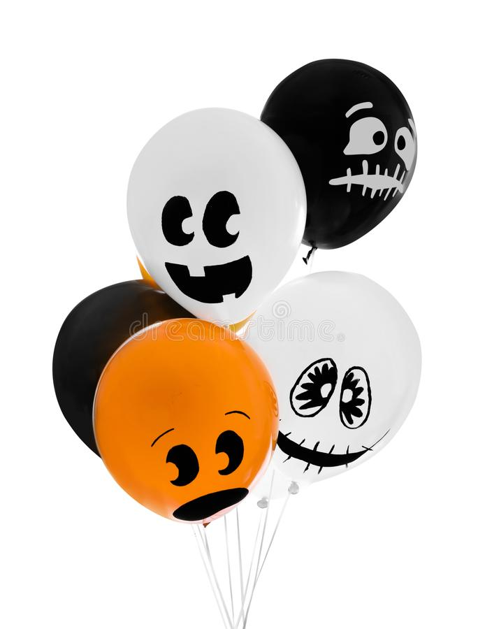 Color balloons for Halloween party on background. Color balloons for Halloween party on white background royalty free stock images