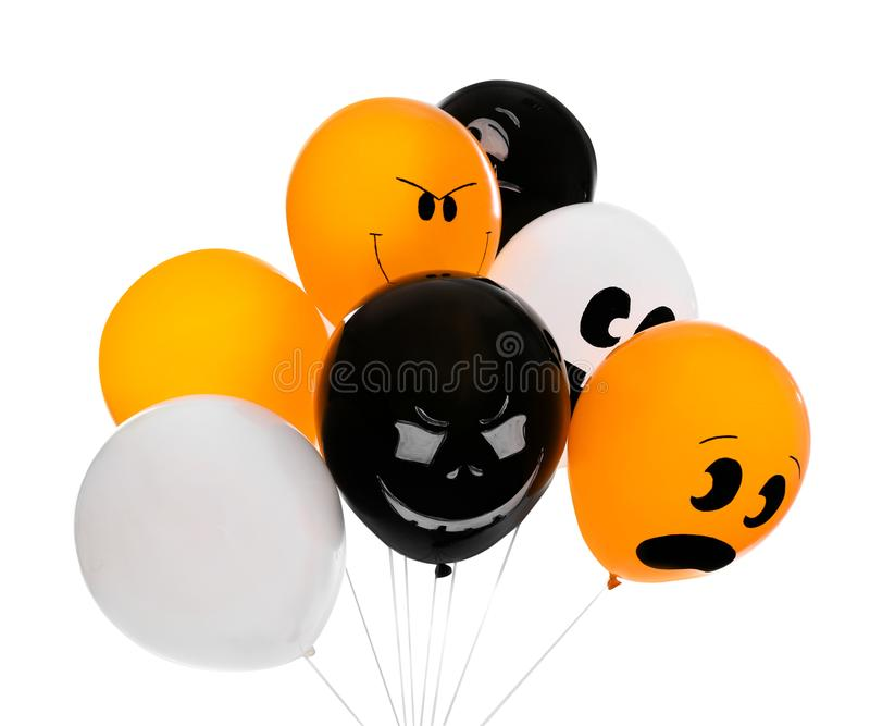 Color balloons for Halloween party on white. Background stock photography