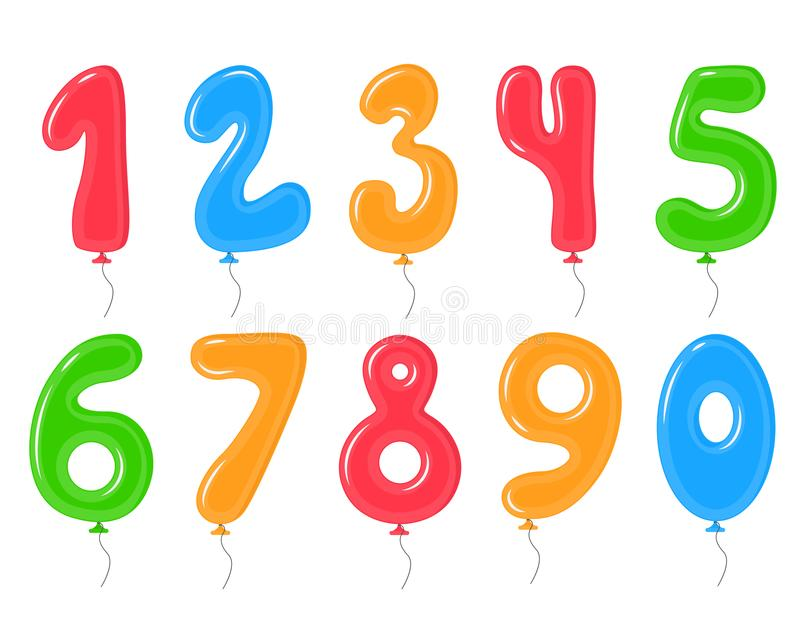 Color Balloons with Numbers Decoration Elements Set. Vector royalty free illustration