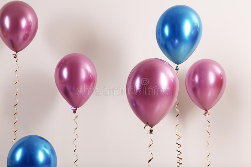 Color balloons with ribbons. On white background stock photography