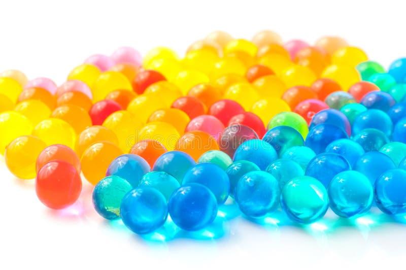 Color balls of polymer gel. Color balls, colored polymer gel, hydrogel beads stock image