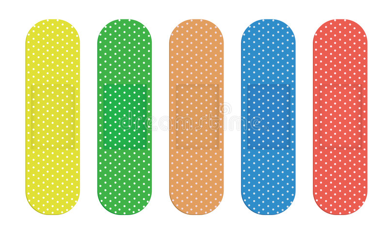 Color Bandages. Set of five colour bandages isolated over white background vector illustration