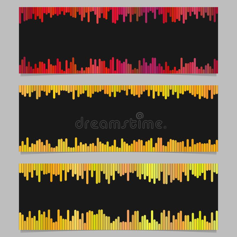 Color banner background design set - horizontal vector graphic from vertical stripes on black background stock illustration