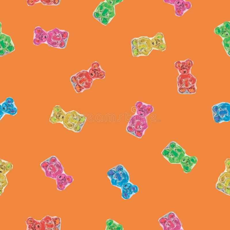Color Bears Pattern. Vector Illustration stock illustration