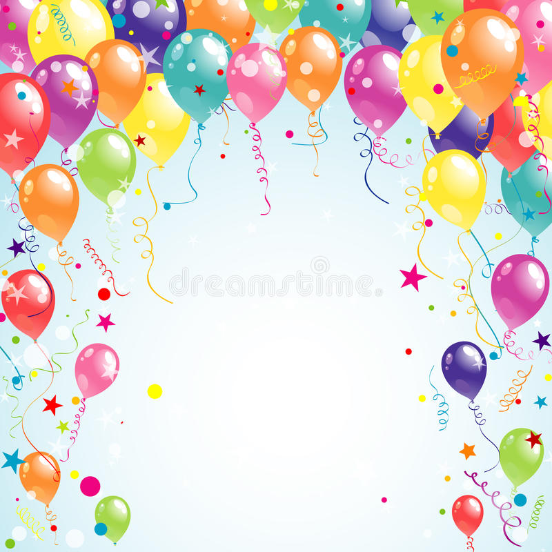 Color beautiful party balloons, vector stock illustration