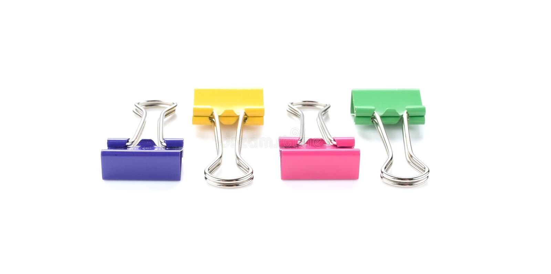 Color binder clips. Illustration on white background for design. Color binder clips. Illustration on white background stock photo