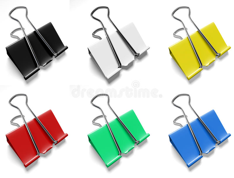 Color binder clips. On a white background stock illustration