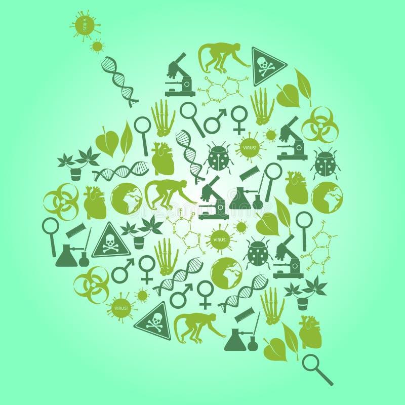 Color biology icons set in leaf shape vector illustration