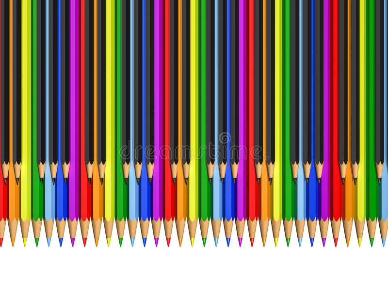 Color and black pencils as piano keys. Rendering vector illustration