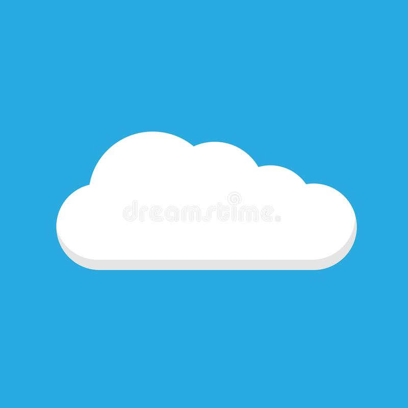 Color blanco del icono del vector de la nube en fondo azul libre illustration
