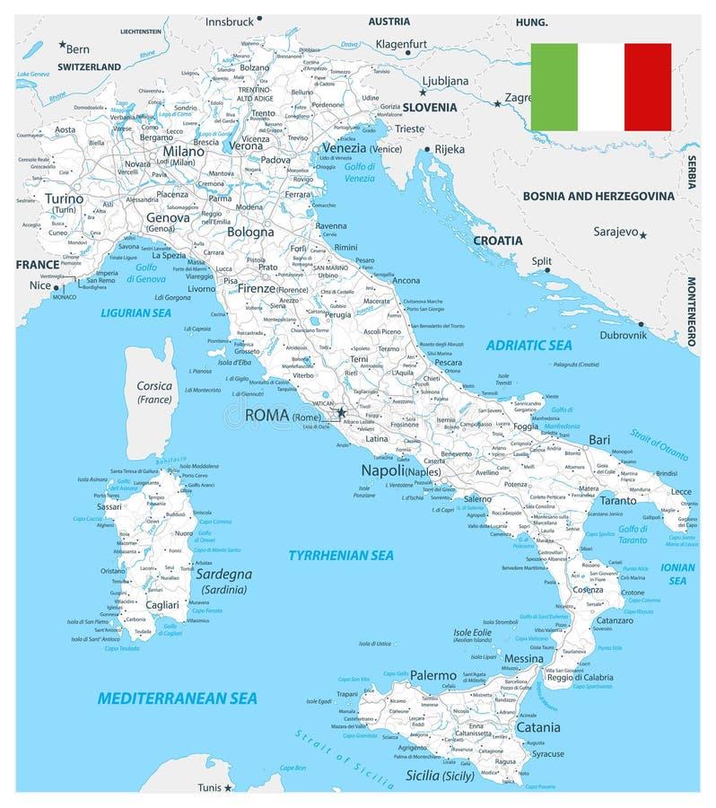 Color blanco del mapa de camino de Italia stock de ilustración