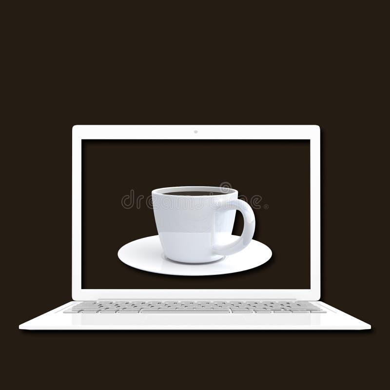 Color blanco del ordenador portátil con la mofa del café ascendente y la trayectoria de recortes stock de ilustración