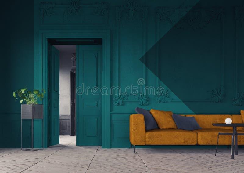 Color block interior design. stock illustration