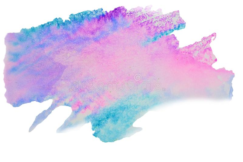 Color, blue - pink splash watercolor painted, artistic decoration, isolated on white background. Color, blue - pink splash watercolor painted, artistic royalty free stock image