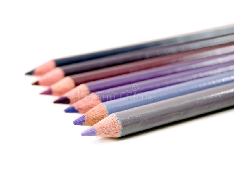 color blyertspennor purpura arkivbilder
