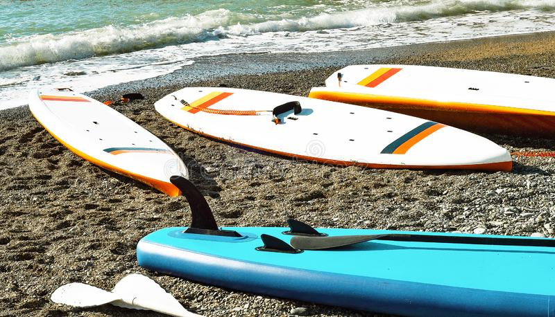 Color boards for stand up paddle surfing SUP royalty free stock photos