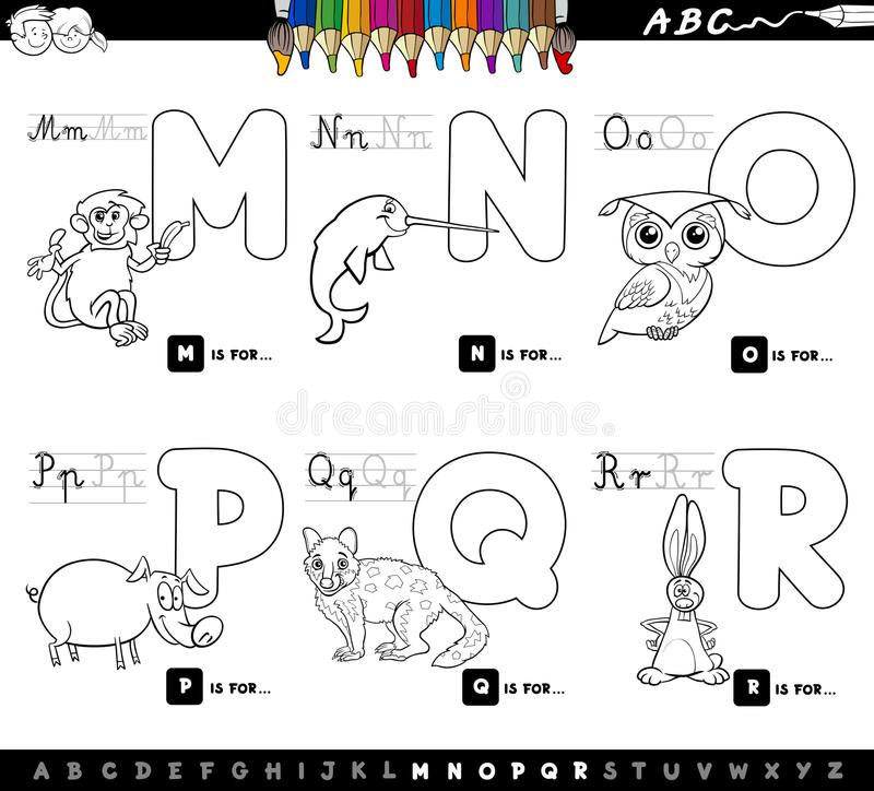 Color Book Educational Cartoon Alphabet Letters Stock Vector ...