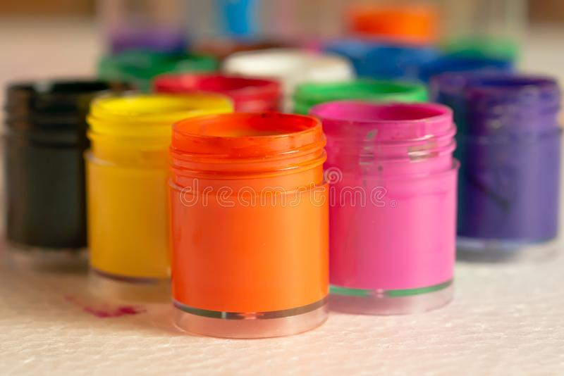 Color bottles opened on the white foam pad royalty free stock photo