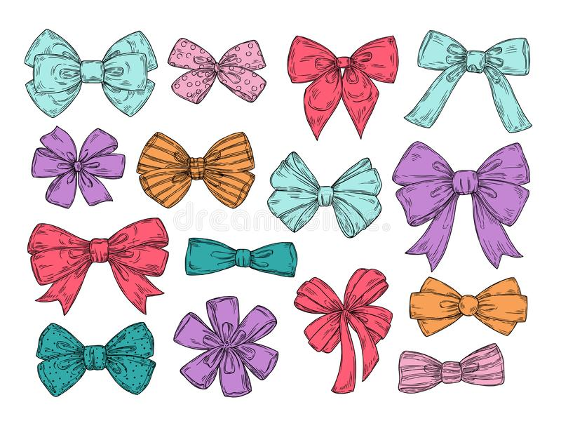 Color bows. Sketch fashion tie bow accessories hand drawn doodles tied ribbons. Retro isolated vector set stock illustration