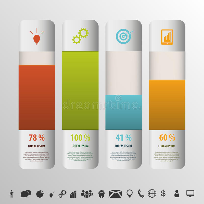 Color boxes. Infographic percent style chart vector royalty free illustration