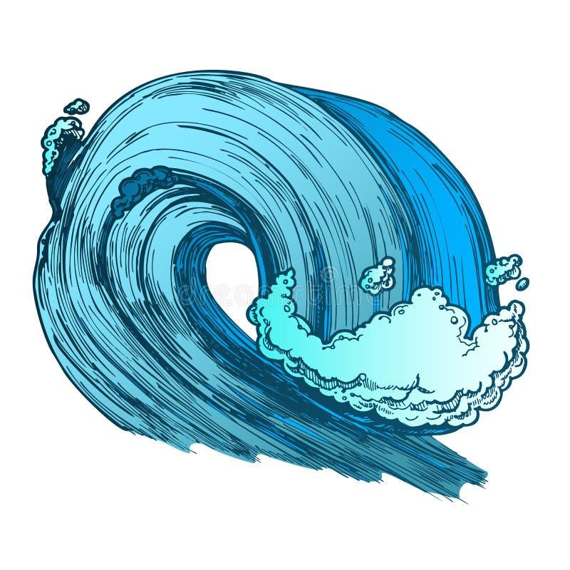 Color Breaking Tropical Sea Marine Wave Storm Vector stock illustration