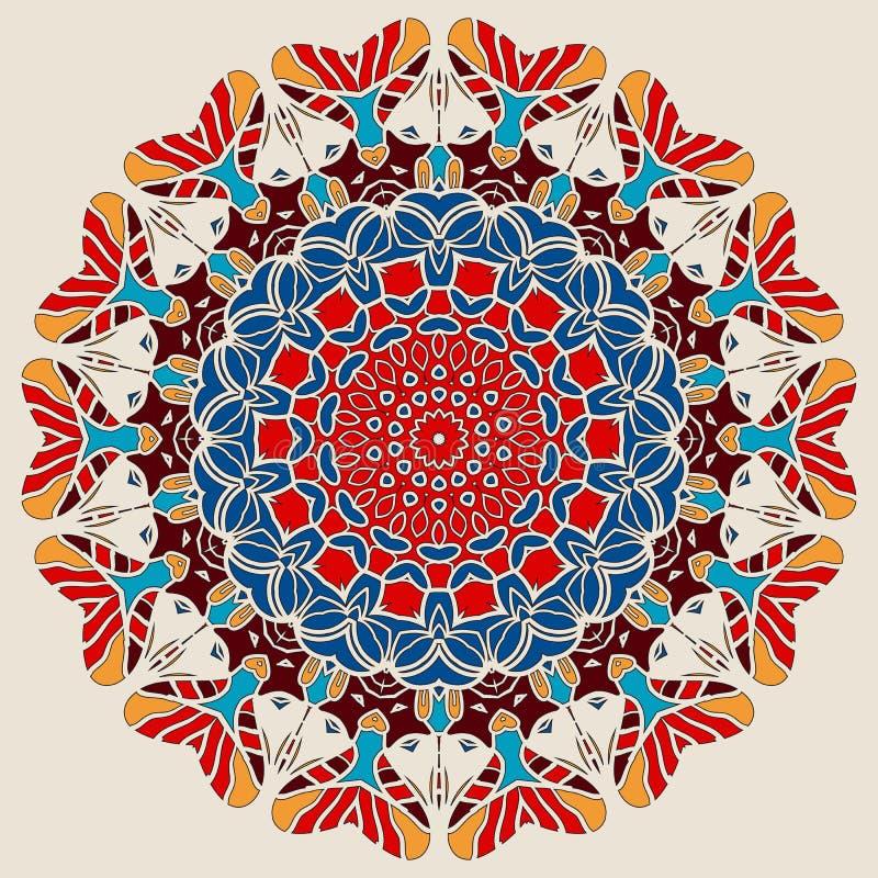 Color brillante Mandala Round Lace Design ilustración del vector