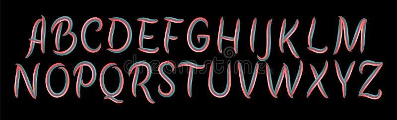 Color brushstroke alphabet, oil or acrylic paint design elements. Vector illustration. Colorful Brush font for logo stock illustration