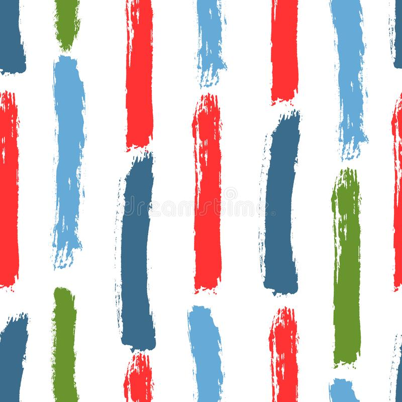 Color brushstrokes of watercolor brush. Seamless pattern with vertical stripes. Sketch, grunge, watercolour. Vector illustration. White, blue, green, red royalty free illustration