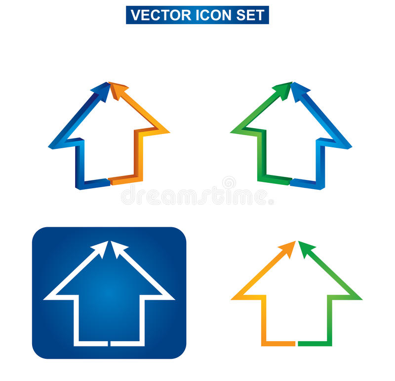 Color building and house icon set stock illustration
