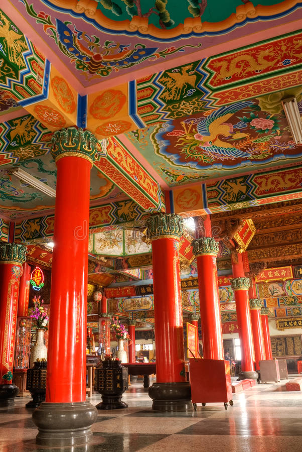 Color building interior of classic Chinese temple royalty free stock photo