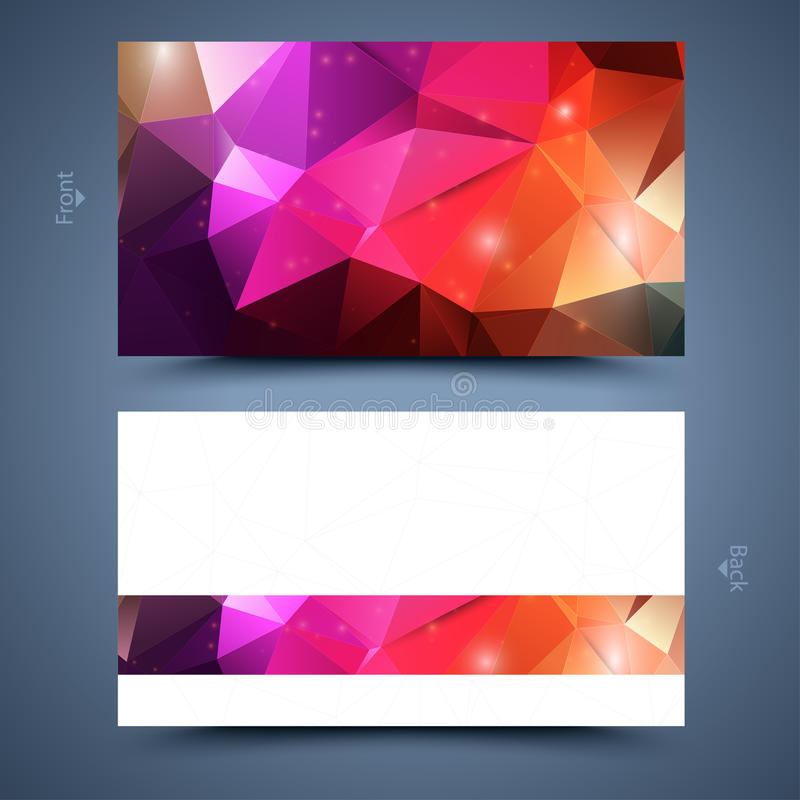 Color business card template. Abstract background. Front and back vector illustration
