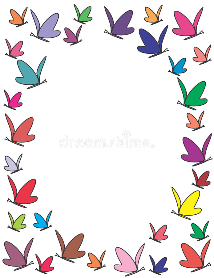 Color Butterflies Frame Stock Images