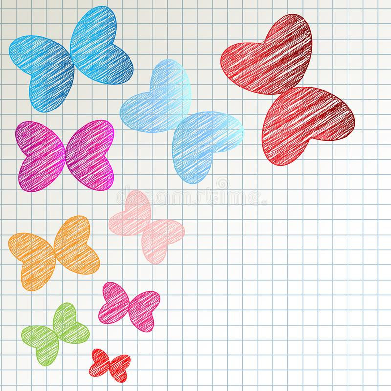Color butterflies scribble on checkered pattern background. vector illustration