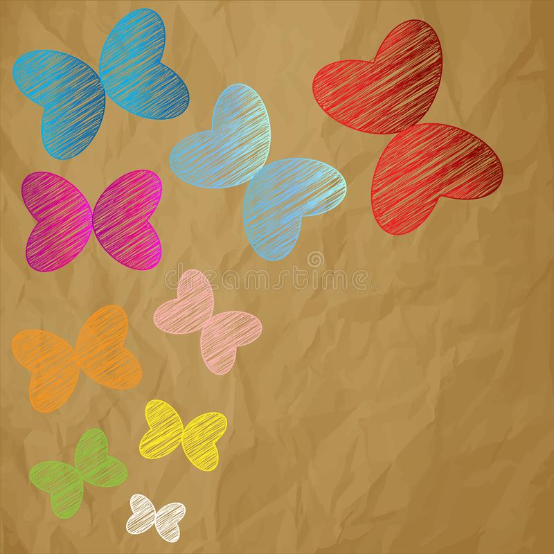 Color butterflies scribble on a crumpled paper brown background. vector illustration