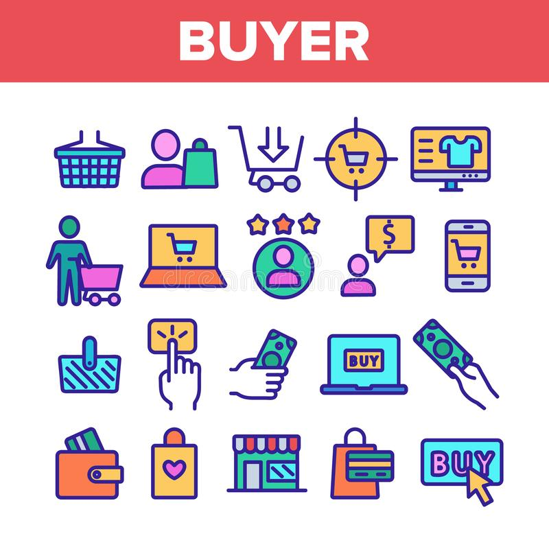 Color Buyer Elements Signs Icons Set Vector stock illustration
