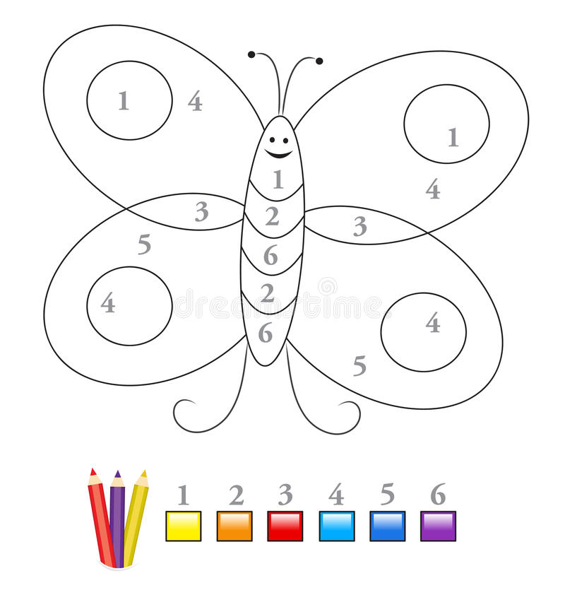 Free Color By Number Game: Butterfly Stock Images - 21033314