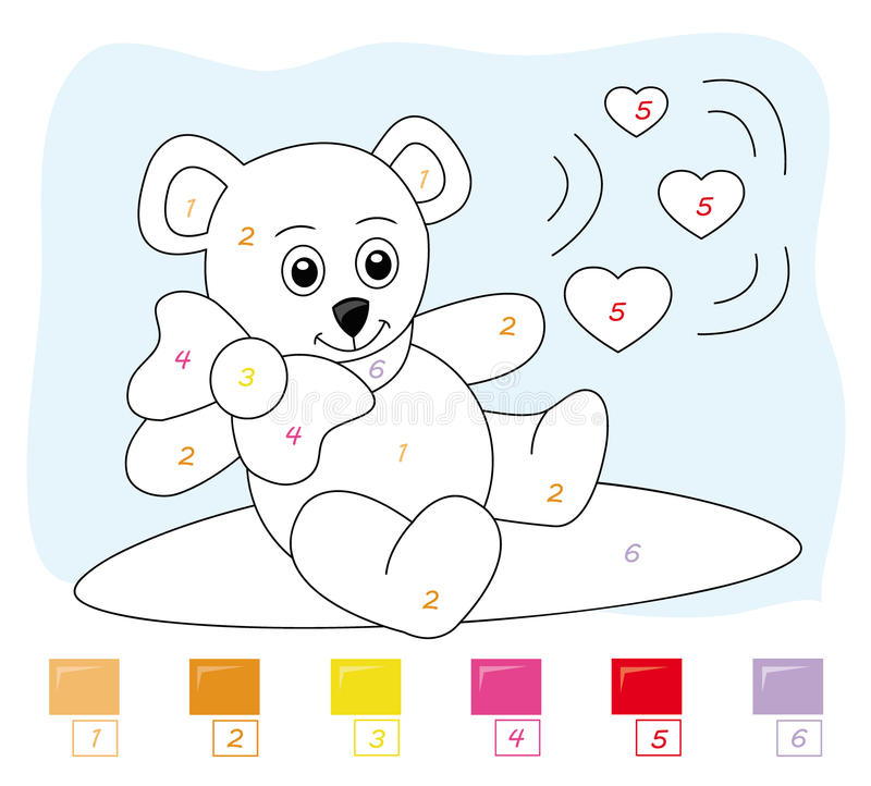 Free Color By Number Game: Teddy Bear Royalty Free Stock Photos - 16803248