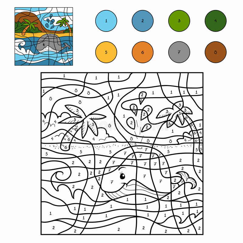 Free Color By Number (whale) Royalty Free Stock Photography - 53579507