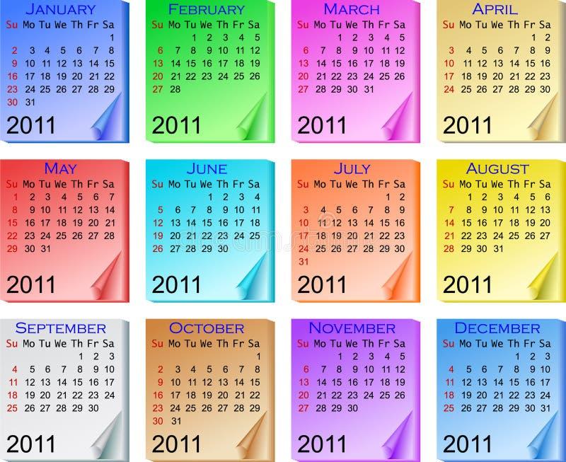 Color calendar 2011 stock photography