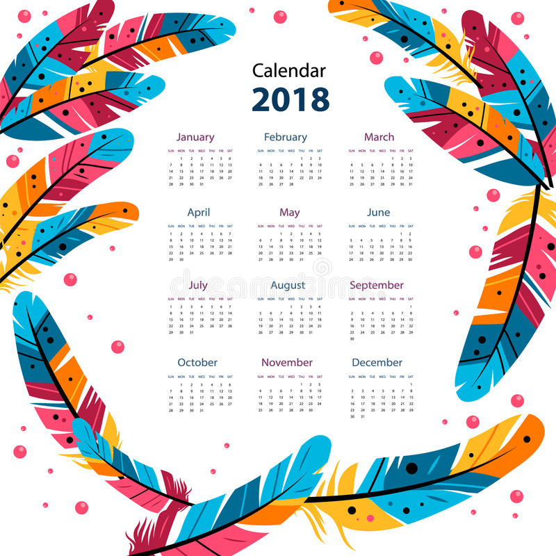 Color calendar of dream catcher with feathers in the style of flat. on white background. stock illustration