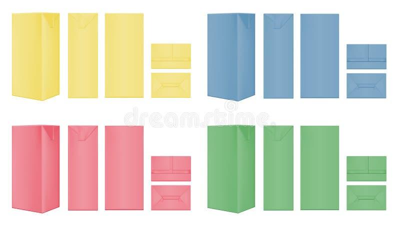 Color cardboard package for beverage, juice and milk royalty free illustration