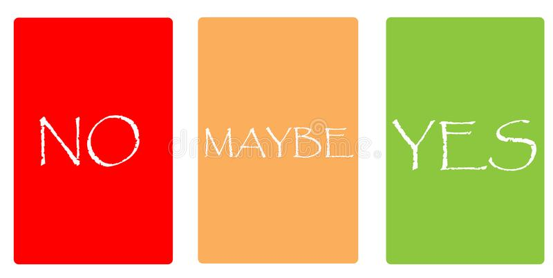 Color cards - NO, MAYBE, YES stock photos