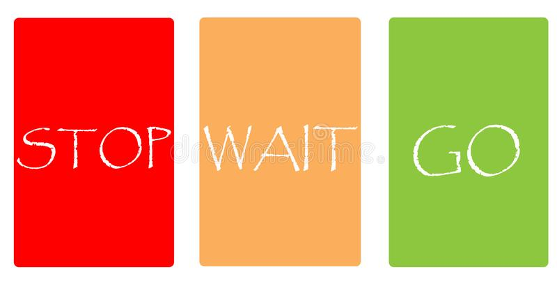 Color cards - STOP WAIT GO stock photography