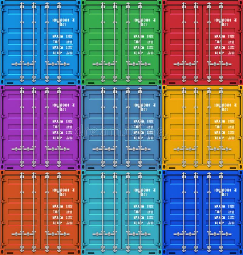 Color cargo containers vector illustration