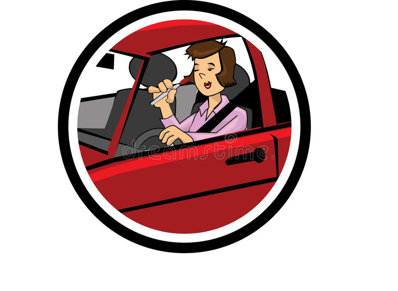 Color cartoon of a woman driving and makeup. Color cartoon of a woman driving irresponsibly by putting makeup at the same time stock illustration
