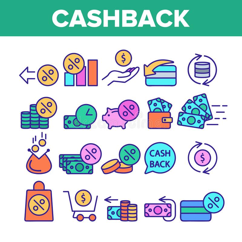 Color Cashback Service Sign Icons Set Vector. Thin Line. Interest Repayment And Accumulation Account, Money Coins And Percent Cashback Elements Linear stock illustration