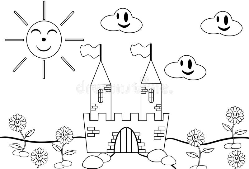 Download Color the castle stock vector. Image of child, cloud - 19015934