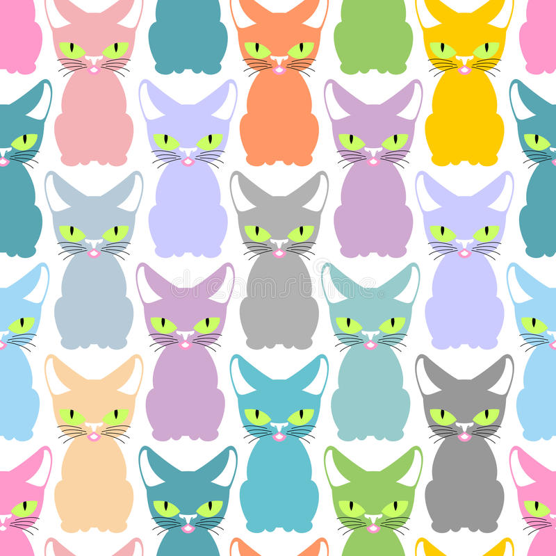 Color cat seamless texture. Pattern of cute cats. Pet background. For fabric stock illustration