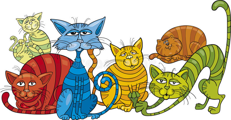 Color cats group. Cartoon illustration of funny color cats